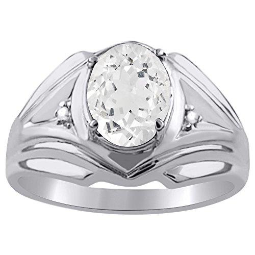 Plata de Ley Anillo De Diamante Y Topacio Blanco o Amarillo Chapado en oro