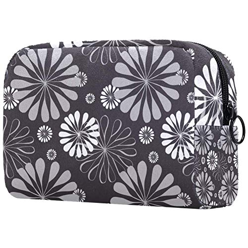 Gray Floral Travel Toiletry Bag, Waterproof Travel Bags, Toiletry Bag for Women and Girls