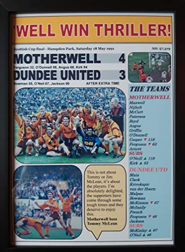 Sports Prints UK Motherwell 4 Dundee United 3-1991 Scottish Cup final - framed print