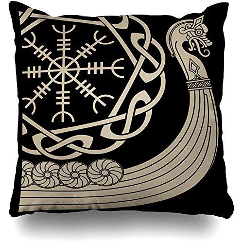 Ace Mate Funda de Almohada de Tiro Buque de Guerra Vikingos Silueta Drakkar Odin Heathen Viaje Tierra Historia Antiguo Patrón Bárbaro Funda de Almohada