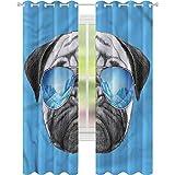 Cortina opaca para ventana con diseño de perrito con gafas de sol de 52 x 72, cortinas de oscurecimiento para sala de estar