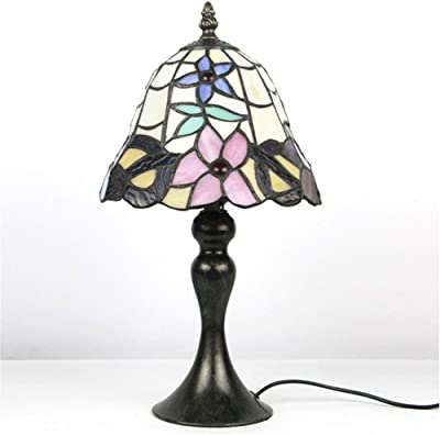 Lampe De Table Tiffany En Verre Multicolore Rétro, Fleurs Libellule Chambre Lampe De Chevet Étude Lampe De Bureau Salon Lampe De Table Décoration (Couleur : 3)