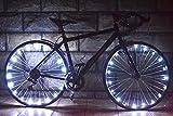 HUGEE Luz de Rueda de Bicicleta - Decoración de Eadios para Euedas De Bicicleta,Luces De Cadena De Rueda Impermeables,Visible Desde Todos Los ángulos,Aplicar Durante La Conducción Nocturna (Blanco)