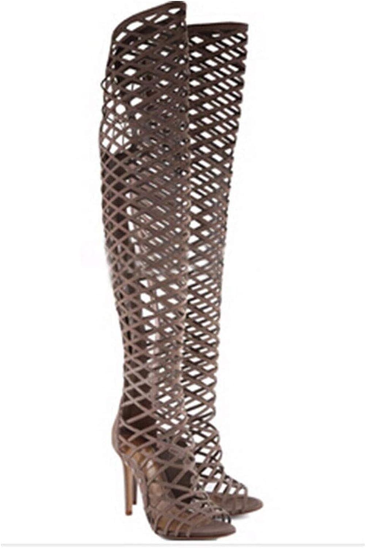 Women's Cut Out Knee High Flat Summer Boots Gladiator Sandals,C,46