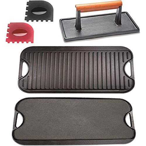 "Cast Iron Griddle with Accessories Includes Reversible Cast Iron Griddle/Grill (20"" x 9-1/2""), Cast Iron Grill Press (4"" x 8""), And Two Durable Grill Pan Scrapers (red and black with griddle ridges)"