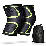 2 x Rodillera de Compresión para Mujer y Hombre, AGPTEK Rodilleras Deportivas para Crossfit, Correr, Bicicleta, Baloncesto, Alivio del Dolor (L 42-47CM)