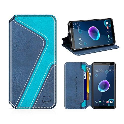 MOBESV Smiley HTC Desire 12 Hülle Leder, HTC Desire 12 Tasche Lederhülle/Wallet Hülle/Ledertasche Handyhülle/Schutzhülle mit Kartenfach für HTC Desire 12, Dunkel Blau/Aqua
