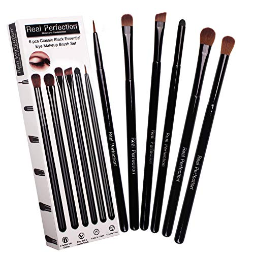Makeup Brushes, Real Perfection 6 pcs Essential Makeup Brushes Set, Blending Eye Shadow Shader Eyebrow Eyeliner Brush Smudge Eye Sponge For Your Flawless Eye Makeup