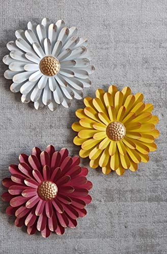 Metal Sunflower Wall Art   Set Of 3   Large 11in Diameter   Yellow White Red   Rustic Farmhouse Metal Hanging Decor   For Indoor Outdoor Patio and Garden Use   Flower Decoration