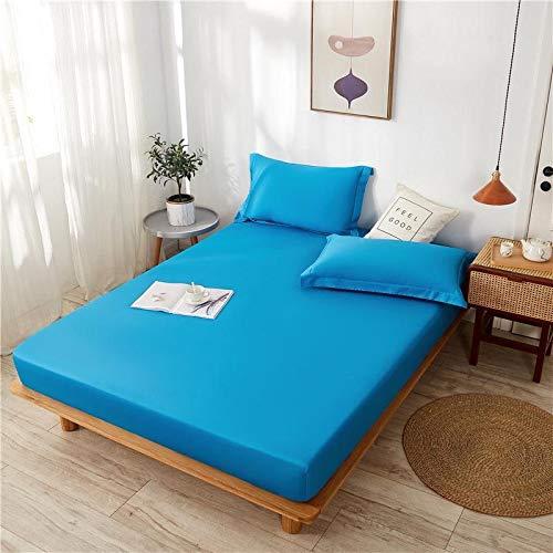 haiba Sábanas bajeras de algodón de fácil cuidado, lisas, teñidas, para cama individual, doble, king y superking, 150 cm x 200 cm + 15 cm