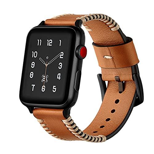 Correa Reloj para Apple Watch Series 1/2/3/4/5/6/SE, Compatible con iWatch Band 38mm 40mm 42mm 44mm con Hebilla de Acero Inoxidable, Hombre Cuero Genuino Correa de Reloj,Brown,42mm/44mm