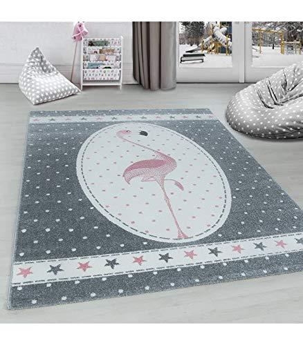 Carpettex Teppich Kinderteppich Kinderzimmer Flamingo mit Sternen Muster Pink Grau Weiß - 160x230 cm