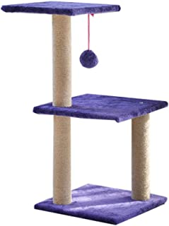 Cat Tree Scratching Post with Heavy Duty Sisal Activity Centre with Extra Post Dangling Ball for Kittens & Pets,Purple