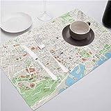 FloraGrantnan - Juego de 8 manteles individuales de cocina, diseño de mapa de Barcelona City Streets Parks