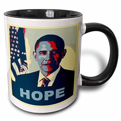 3dRose President Barack Obama In Hope Pop Art Mug, 11 oz, Black
