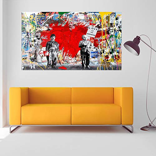 ZENDA Classic Street Art Banksy Graffiti Paintings Einstein Chaplin Love is The Answer Canvas Wall Art Abstract Wall Decor Pictures for Home Office Bedroom Framed