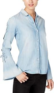 BUFFALO $69 Womens New 1503 Light Blue Denim Collared Bell Sleeve Shirt XS B+B