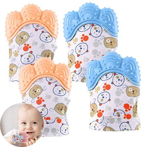 Osuter Baby Zahnen Handschuh,4 Stück Baby Teething Mitten Silikon Zahnen Fäustlinge für Babys 3-6 Monate