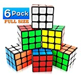 INTEGEAR 6 Pack Full Size Magic Speed Cube 3x3x3 Easy Turning and Smooth Play Puzzle Party Toy Cube Bulk 56mm Educational Party Favor School Supplies for All Age Kids and Adults (6 Pack)