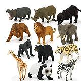 WE-WIN Lot de 12 Figurines d'animaux Sauvages Réalistes Wildlife Animals