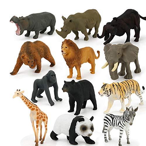 BonTime 12 Piezas de Juguetes para niños, Mini Juguetes de plástico, simulados, Modelo de Animales Salvajes