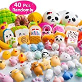 40PCS MOMOTOYS Squishies Mochi Mini Squishies Toys 20 Kawaii Animal Squishies 20 Food Squishy Pinata Fillers Stress Relief Toys Cat Unicorn Squishy Birthday Gifts Kids Party Favors
