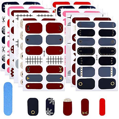 MWOOT Selbstklebend Nagelfolie, 12 Stück Nagel Sticker für DIY Nagelkunst, Schnell&Einfach Maniküre Nagelaufkleber, Nageldesign Klebefolien -Rot Lines Nail Art Wraps Sticker