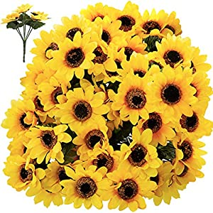 FagusHome Artificial Sunflowers – 12 Bunches Small Sunflower Bouquets 84 Small Floral Heads Fake Sunflowers Artificial Plant for Home Decor Wedding Party