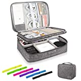 Kernorv Travel Cable Organizer Bag, Three-Layer Electronics Accessories Organizer Bag for Cables, Chargers, Power Bank, Mouse,iPad, Phone, Kindle, SD Card, Wires, Cords, and Accessories (Grey)