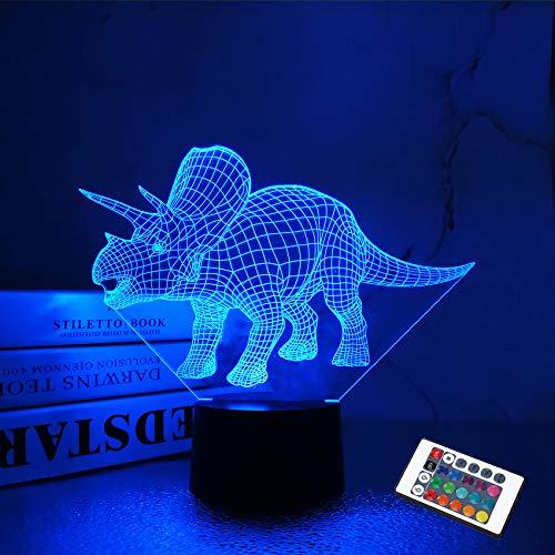 Dinosaurierspielzeug, 3D-Nachtlicht für Kinder, Triceratops Illusionslampe 16 Farben ändern dimmbar mit Fernbedienung Cooles Geburtstags-Freundschaftsgeschenk für Jungen Baby Teen