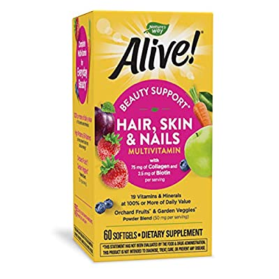 Nature's Way Alive! Hair, Skin & Nails Multivitamin with Biotin and Collagen, 60 Softgels
