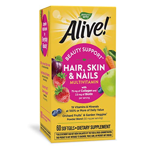 Nature's Way Alive! Hair, Skin & Nails Multivitamin with Biotin (5,000mcg per serving and Collagen (75mg per serving), Fruit & Veggie Blend (50mg per serving), 60 Softgels