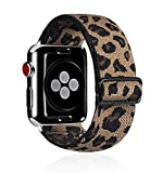 Kraftychix Adjustable Elastic Watch Band Compatible with Apple Watch 38mm/40mm/42mm/44mm,Soft Stretch Bracelet Women Strap Replacement Wristband for Iwatch Series SE/6/5/4/3/2/1… (Leopard, 38MM/40MM)