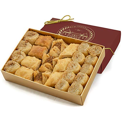 Baklava Baklawa Sweet, Bite size, Baked to Order, 24 Pieces, Château de Mediterranean, Gift Box Ribbon