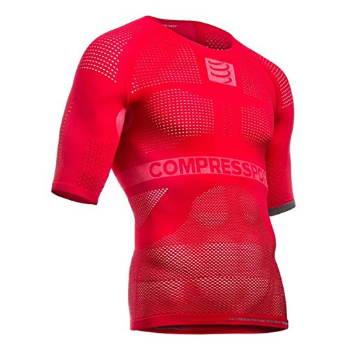 COMPRESSPORT on/Off Multisport SS T-Shirt première Couche compressif Homme, Rouge, FR : S (Taille Fabricant : T1)