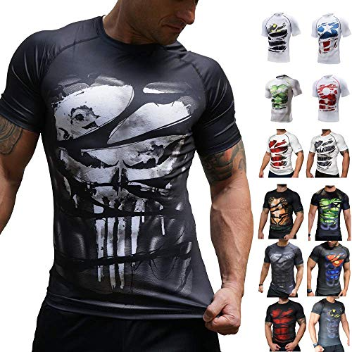 Khroom® Herren Funktionsshirt Kurzarm atmungsaktiv im Helden Design (Punisher, XL)