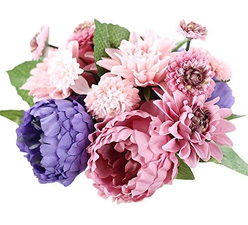 Simulación de peonía lumanuby de círculos de tela Pake flores boda decoración para el hogar, colorido, 30*9*19cm
