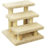 New Cat Condos 110223-Brown Wood Constructed Large Pet Stairs for Cats and Dogs, Large