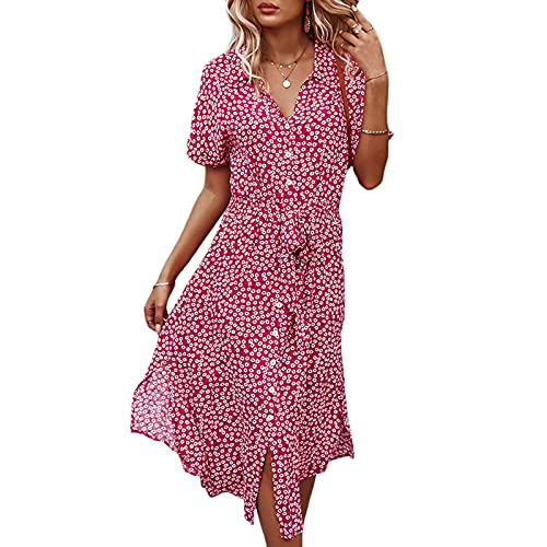 FUNWAVE Womens Elegant Dresses Boho Floral Print Belt Button Down Midi Dress Short Sleeve V Neck Split Summer Beach Party Swing Dress (Rose Red, Small)