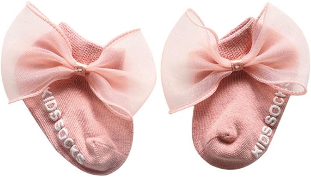 3 Pairs Baby Girls Bow Socks Toddler Non-Slip Grip Kids Socks