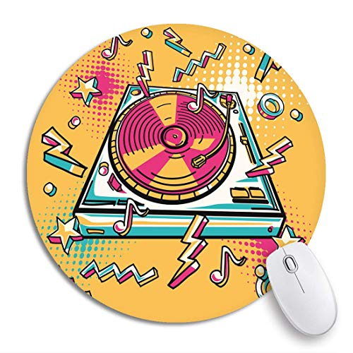 Rundes Mauspad Orange Graffiti Funky Bunt gezeichnet Plattenspieler Muster 80S Musik Rutschfeste Gummibasis Mausmatte Gaming Mousepad für Computer