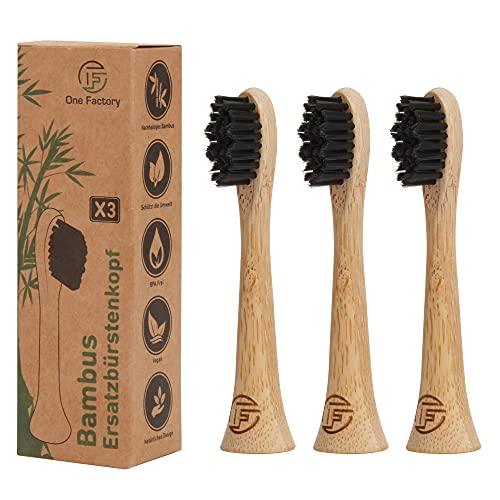 Bambus Ersatzbürstenkopf (3er-Pack) von One Factory, passend für jede Philips Sonicare Ersatzbürsten, Aufsteckbürsten/ Phillips Ersatzbürsten