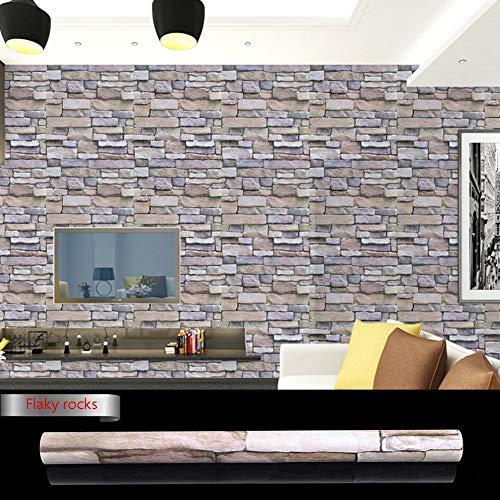 HJWL Papel pintado, patrón de ladrillo, impermeable, autoadhesivo, adhesivo de ladrillo de imitación para dormitorio, sala de estar, papel pintado de PVC (0,45 x 10 m) (color: rocas escamosas)