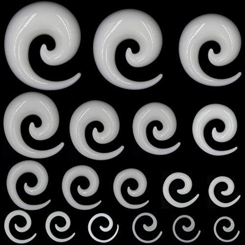 AdorabFruit Showlove 2pcs acrílico Medidores de oído Espiral del oído Tapones Las Formas cónicas de Estiramiento y joyería túnel Expansores de la perforación del Cuerpo (1.2-14mm) Accesorios