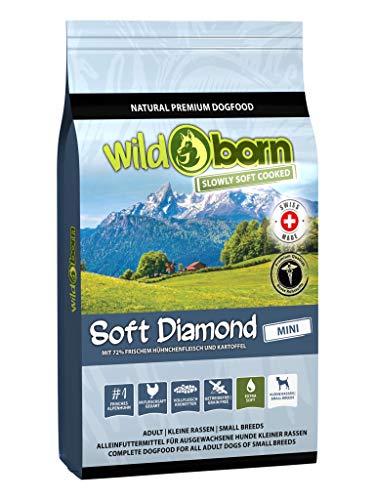 Wildborn getreidefreies Hundefutter Soft Diamond Mini 12 kg Softfutter für kleine Hunde | mit 72% frischem Schweizer Alpenhühnchenfleisch