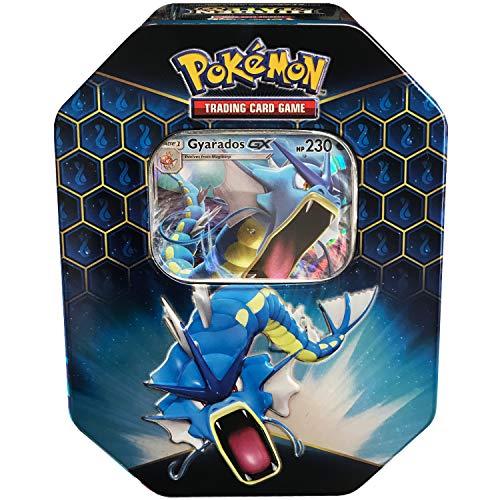 Pokemon SM11.5 Hidden Fates Gx Tin- Gyardos + 1 of 3 Foil Pokémon-GX Cards + 4 Booster Pack, Multicolor