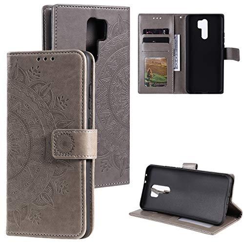 HTDELEC Handyhülle für Xiaomi Redmi 9,Ultra Slim Flip Hülle Grau Etui mit Kartensteckplatz & Magnetverschluss Leder Wallet Klapphülle Book Hülle Bumper Tasche für Xiaomi Redmi 9(T-Grau)