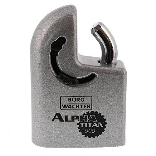 Burg-Wächter Vorhangschlosskorpus ohne Zylinder, Stahl, 14 mm Bügelstärke, 2 Schlüssel, Titan 900 85 V