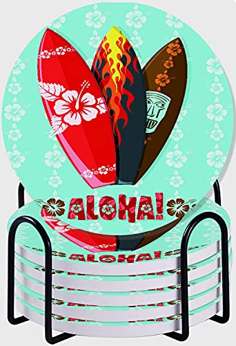 CIKYOWAY Posavasos para Bebidas,Tablas de Surf Aloha Modernas Juego de 6 Posavasos absorbentes con Soporte de Metal/Fondo de Corcho,para Casa Restaurante Y Bar