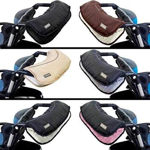 Handwärmer/Handmuff (Mit kuschelweichen FLEECE) für Kinderwagen/Buggy/Sportwagen (BRAUN/WEIß)